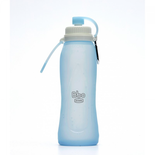 BOTELLA BBO IRISANA SILICONA PLEGABLE 500ML AZUL
